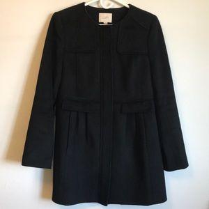 Beautiful black boiled wool blend LOFT car coat M